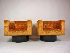 Pair of Swivel Cube Lounge Chairs - 355085
