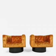Pair of Swivel Cube Lounge Chairs - 355564