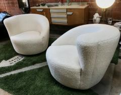 Pair of Swivel Parlor Chairs Upholstered in White Sheep Fabric USA 1960s - 1702565