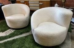 Pair of Swivel Parlor Chairs Upholstered in White Sheep Fabric USA 1960s - 1702566