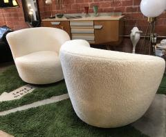 Pair of Swivel Parlor Chairs Upholstered in White Sheep Fabric USA 1960s - 1702567