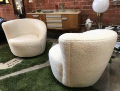 Pair of Swivel Parlor Chairs Upholstered in White Sheep Fabric USA 1960s - 1702568