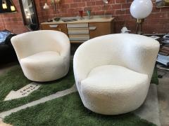 Pair of Swivel Parlor Chairs Upholstered in White Sheep Fabric USA 1960s - 1702569