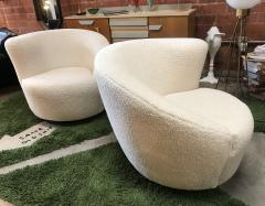 Pair of Swivel Parlor Chairs Upholstered in White Sheep Fabric USA 1960s - 1702570