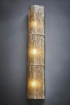 Pair of Tall Textured Murano Glass Wall Sconces - 1114454