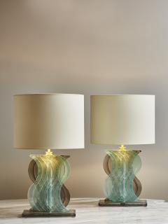 Pair of Teal and Grey Murano Glass Table Lamps - 1945434