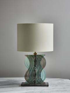 Pair of Teal and Grey Murano Glass Table Lamps - 1945435