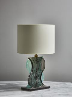 Pair of Teal and Grey Murano Glass Table Lamps - 1945436