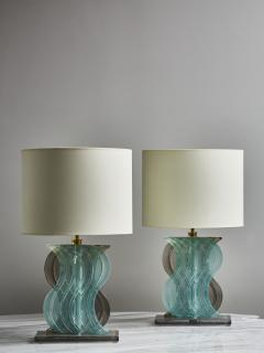 Pair of Teal and Grey Murano Glass Table Lamps - 1945437