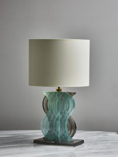 Pair of Teal and Grey Murano Glass Table Lamps - 1945439
