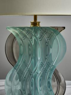 Pair of Teal and Grey Murano Glass Table Lamps - 1945441