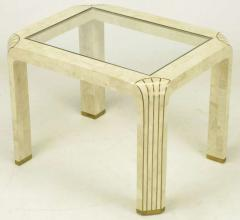 Pair of Tessellated Fossil Stone and Inlaid Brass Side Tables - 277234