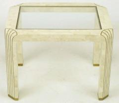 Pair of Tessellated Fossil Stone and Inlaid Brass Side Tables - 277235