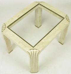 Pair of Tessellated Fossil Stone and Inlaid Brass Side Tables - 277236