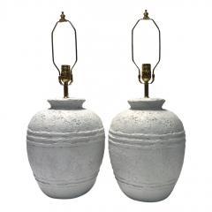 Pair of Textured Ceramic Lamps - 1163346