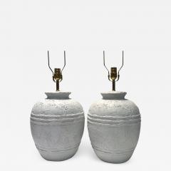 Pair of Textured Ceramic Lamps - 1164047