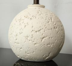 Pair of Textured Custom Circular Plaster Lamps - 1094710