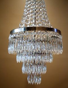 Pair of Three Light Tent and Cascade Chandeliers - 1065561
