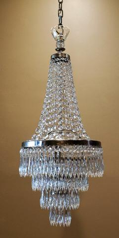 Pair of Three Light Tent and Cascade Chandeliers - 1065563