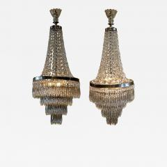 Pair of Three Light Tent and Cascade Chandeliers - 1065892