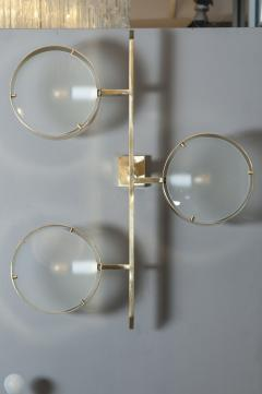 Pair of Three Lights Brass and Glass Wall Sconces - 976479