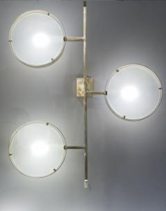 Pair of Three Lights Brass and Glass Wall Sconces - 976480