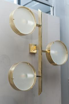 Pair of Three Lights Brass and Glass Wall Sconces - 976481