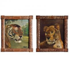 Pair of Tiger and Lion Art Deco Framed Paintings - 920624