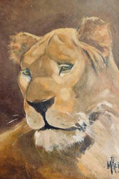 Pair of Tiger and Lion Art Deco Framed Paintings - 920625