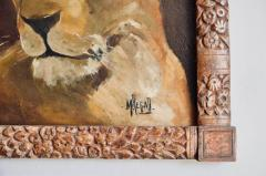 Pair of Tiger and Lion Art Deco Framed Paintings - 920626