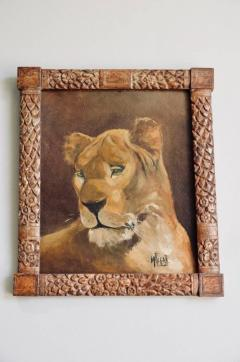 Pair of Tiger and Lion Art Deco Framed Paintings - 920627