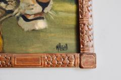Pair of Tiger and Lion Art Deco Framed Paintings - 920628