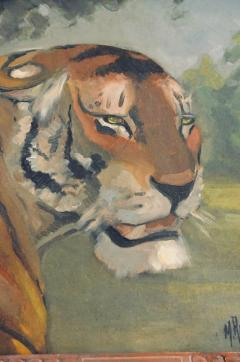 Pair of Tiger and Lion Art Deco Framed Paintings - 920629