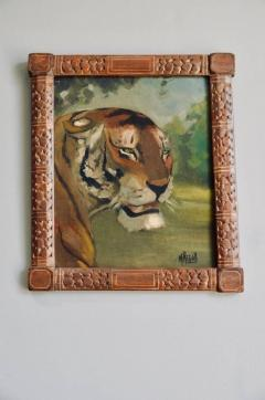 Pair of Tiger and Lion Art Deco Framed Paintings - 920630