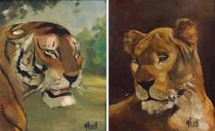 Pair of Tiger and Lion Art Deco Framed Paintings - 920771