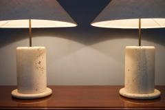 Pair of Travertine Table Lamps Italy 1970s - 1169418