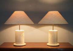 Pair of Travertine Table Lamps Italy 1970s - 1169419