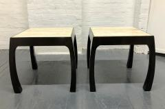 Pair of Travertine Top Asian Style End Tables - 1587419