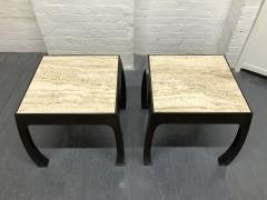 Pair of Travertine Top Asian Style End Tables - 1587420