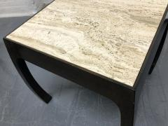 Pair of Travertine Top Asian Style End Tables - 1587421