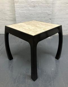 Pair of Travertine Top Asian Style End Tables - 1587427