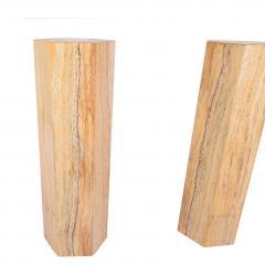 Pair of Travertine costume hexagonal pedestals - 1019820