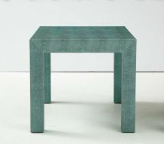 Pair of Turquoise 1980s Aleather Wrapped Mid Century Side Table - 2131538
