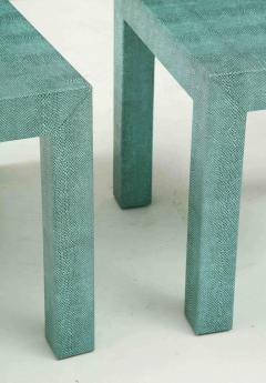 Pair of Turquoise 1980s Aleather Wrapped Mid Century Side Table - 2131540