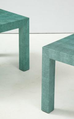 Pair of Turquoise 1980s Aleather Wrapped Mid Century Side Table - 2131543