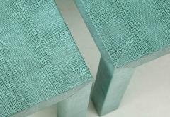 Pair of Turquoise 1980s Aleather Wrapped Mid Century Side Table - 2131550