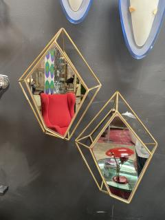 Pair of Two Italian Rhomboidal sculptural brass and Mirror Wall Sconces 1970s - 1572592