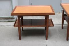 Pair of Two Tier Cork Top Side Tables - 2053543