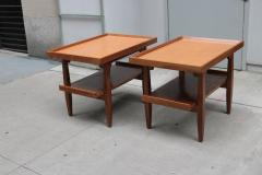 Pair of Two Tier Cork Top Side Tables - 2053544