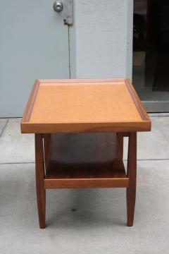 Pair of Two Tier Cork Top Side Tables - 2053545
